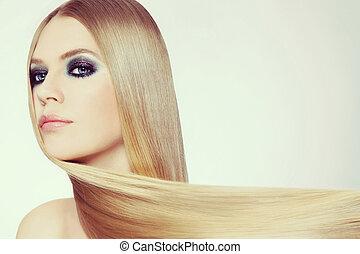 bella donna, giovane, lungo, discoteca, capelli, capriccio, biondo, trucco
