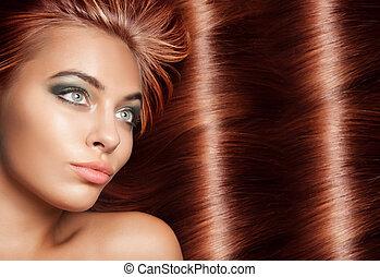 bella donna, hairstyle., bellezza, diritto, capelli lunghi, fondo., hair.