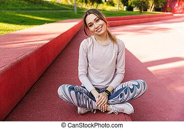 bella donna, idoneità, giovane, sport, park., proposta, fuori