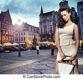 bella donna, il portare, vestito bianco