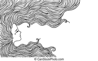 bella donna, illustration., vettore, hair.