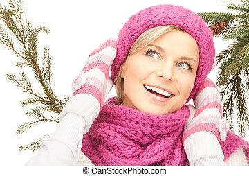 bella donna, in, cappello inverno