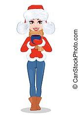 bella donna, in, vestiti inverno, presa a terra, caldo, drink., sorridere felice, cartone animato, character.