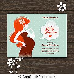 bella donna, incinta, vendemmia, doccia, invito, bambino