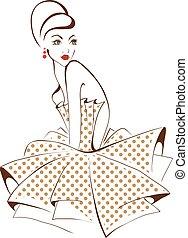 bella donna, isolato, sopra, styling, giovane, retro,...