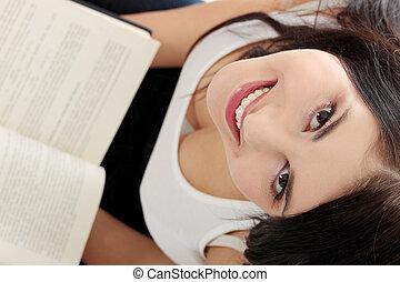 bella donna, libro, giovane, lettura