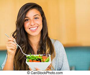 bella donna, mangiare, insalata, sano, ciotola, giovane, organico
