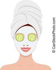 bella donna, maschera, facciale