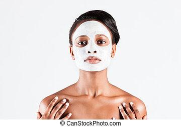 bella donna, maschera, studio, facciale, africano