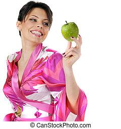 bella donna, mela, giovane, verde, presa a terra, bianco, felice
