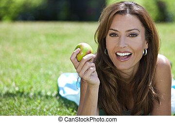 bella donna, mela mangia, esterno, sorridente