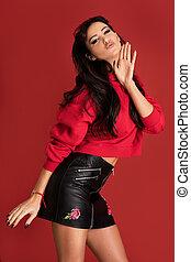 bella donna, moda, fondo., proposta, rosso