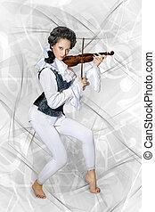 bella donna, musicista, violino esegue