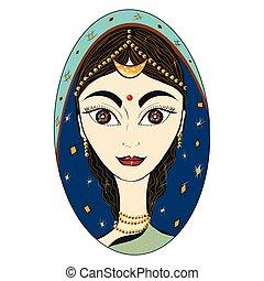 bella donna, nazionale, isolato, indiano, vector., ritratto, bianco, vestiti