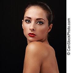 bella donna, nudo, trucco, dall'aspetto, luminoso, closeup, shoulder.