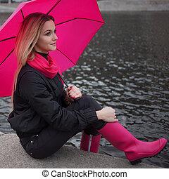 bella donna, ombrello, biondo, colorito, positività,...