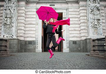 bella donna, ombrello, biondo, colorito, positività, giovane...