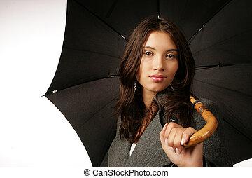 bella donna, ombrello, sopra, giovane, sfondo nero, bianco