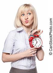 bella donna, orologio, allarme, isolato, giovane, bianco