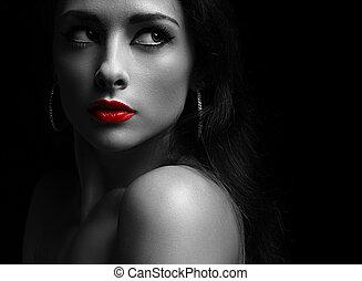 bella donna, oscurità, dall'aspetto, labbra, drammatico, misterioso, rosso