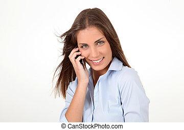 bella donna, parlare, mobile, giovane, telefono, ritratto