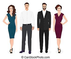 bella donna, persone, isolated., coppia, ragazze, giovane, moda, uomo, tipi, set., bello