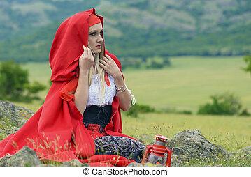 bella donna, prato, seduta, antiquato, mantello, biondo, vestire, rosso