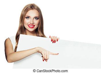 bella donna, presa a terra, indicare, cartello, isolato, carta, fondo, bianco, vuoto