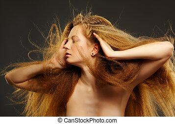 bella donna, riccio, rosso-dai capelli
