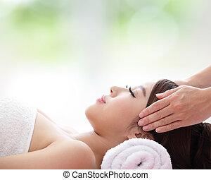 bella donna, ricevimento, massaggio