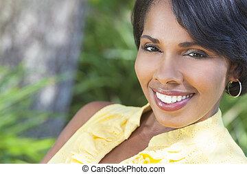 bella donna, rilassante, americano, esterno, africano