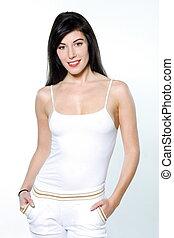 bella donna, ritratti, allenamento, giovane, isolato, studio, fondo, bianco, abbigliamento sportivo
