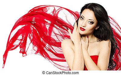 bella donna, ritratto, con, labbra rossi, e, ondeggiare, sciarpa
