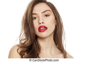 bella donna, rossetto, lei, giovane, labbra, proposta, rosso