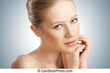 bella donna, sano, giovane, faccia, pelle, care.