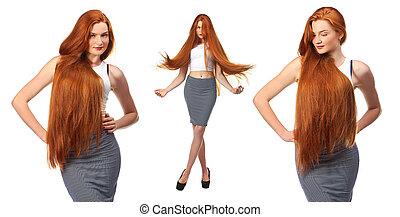 bella donna, sano, giovane, lungo, isolato, fondo, hair., bianco rosso