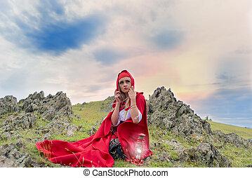 bella donna, seduta, antiquato, mantello, pietre, biondo, vestire, rosso