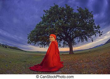 bella donna, seduta, antiquato, quercia, mantello, sotto, biondo, vestire, rosso