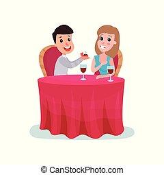 bella donna, seduta, diamante, mentre, illustrazione, cartone animato, cena, vettore, matrimonio, proporre, tavola, anello, uomo, detenere, felice