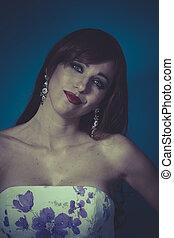 bella donna, sguardo, bellezza, haired, pulito, fondo, rosso, sposa, sorriso, fiori bianchi, vestire, sensuale