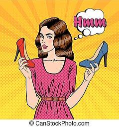 bella donna, shoes., scarpe, giovane, pop, vettore, illustrazione, scegliere, ragazza, art.