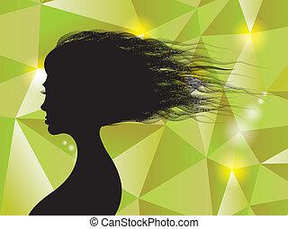 bella donna, -silhouette, capelli, illustrazione, fondo, baluginante