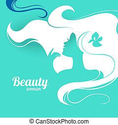 bella donna, silhouette., carta, progetto moda