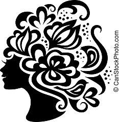 bella donna, silhouette, con, fiori
