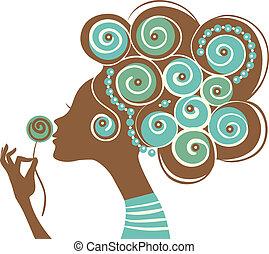 bella donna, silhouette, con, uno, fiori