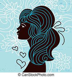 bella donna, silhouette, profilo