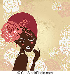 bella donna, silhouette, retro