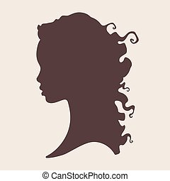 bella donna, silhouette, riccio, africano