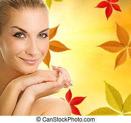 bella donna, sopra, giovane, autunno, fondo, astratto