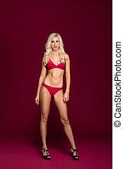 bella donna, sopra, giovane, costume da bagno, fondo., rosso
